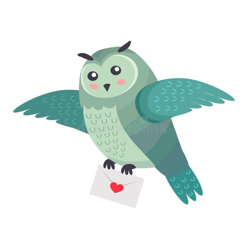 Owl Bird Flying com letra do amor com o coração isolado ilustração stock