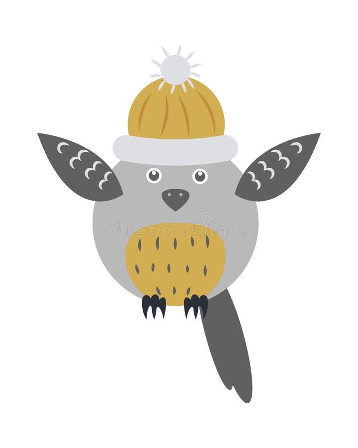 Owl Bird in Gebreid Geïsoleerd GLB met Opgeheven Vleugels vector illustratie