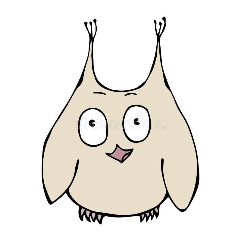 Owl Bird perplexe amusé étonné drôle mignon D'isolement sur un vecteur tiré par la main de croquis de fond de bande dessinée blan illustration de vecteur