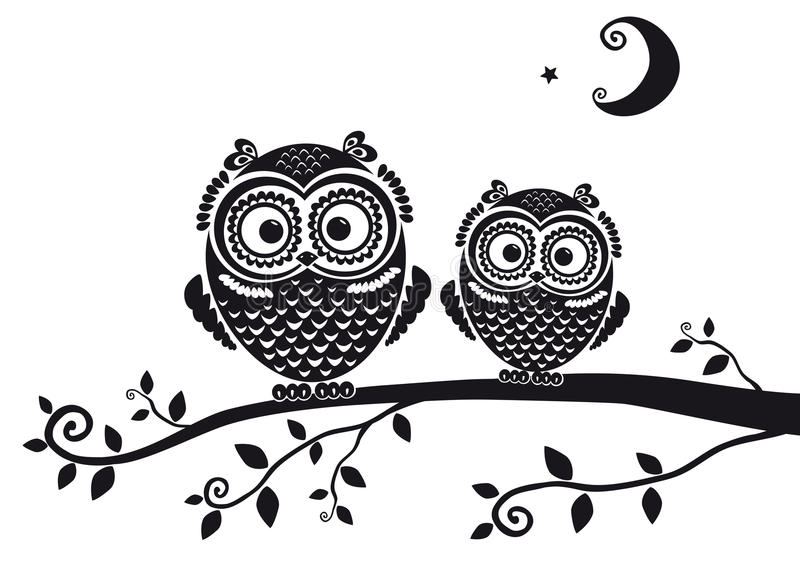 Owl black royalty free illustration