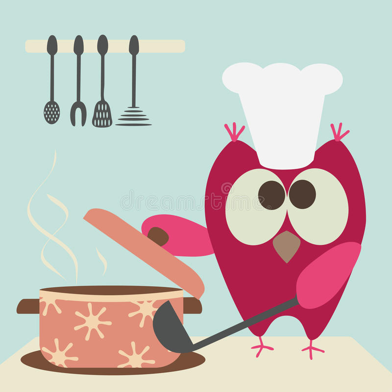 Owl and bowl. Cute owl with a bowl cooking in the kitchen stock illustration