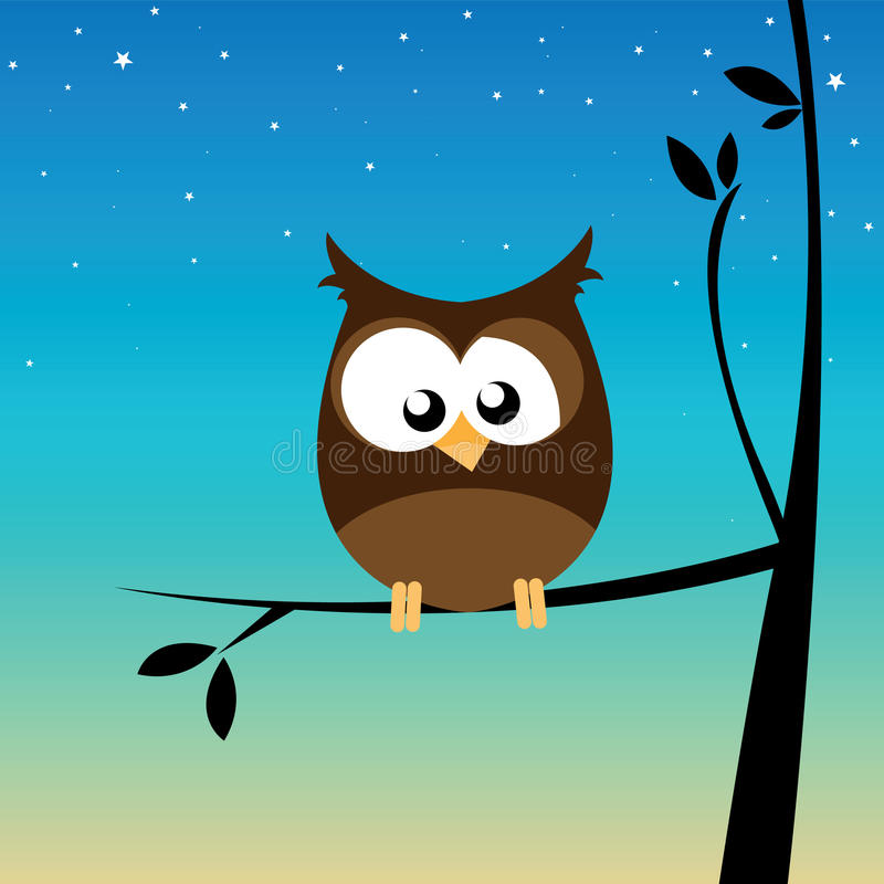 Owl On A Branch. Illustration of an owl on a branch vector illustration