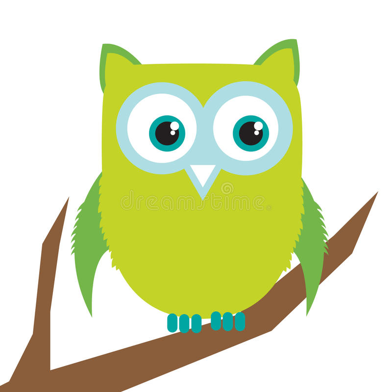 Download Owl on branch stock vector. Illustration of cute, feather - 21317377