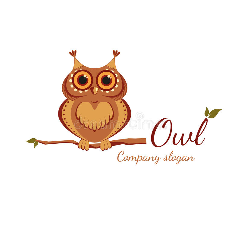 Owl on a branch. Logo with cartoon owl on a branch vector illustration