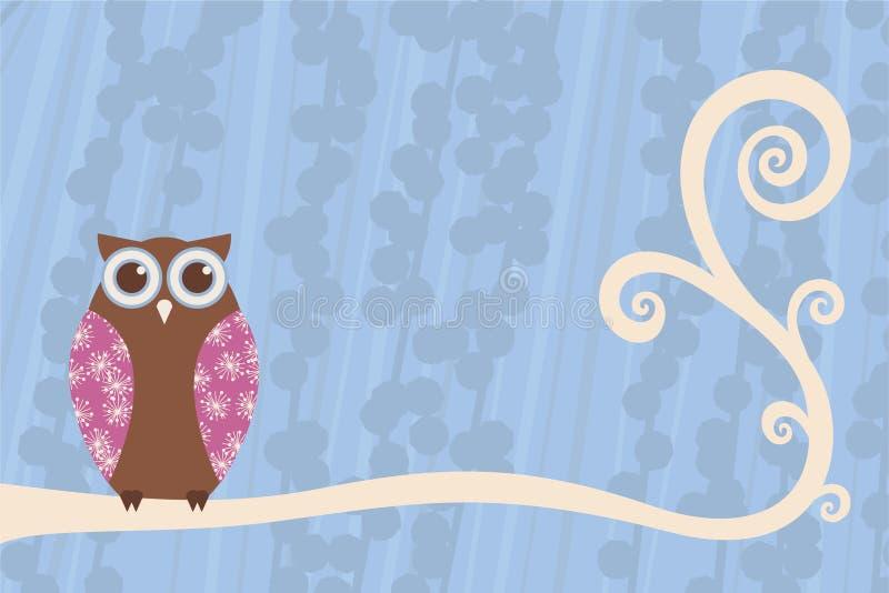 Owl Branch Scene vector illustration
