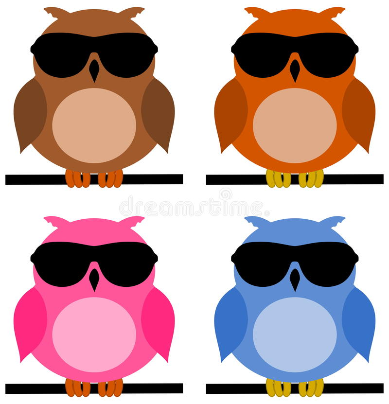 Owl on branch with sunglasses. Illustration vector illustration