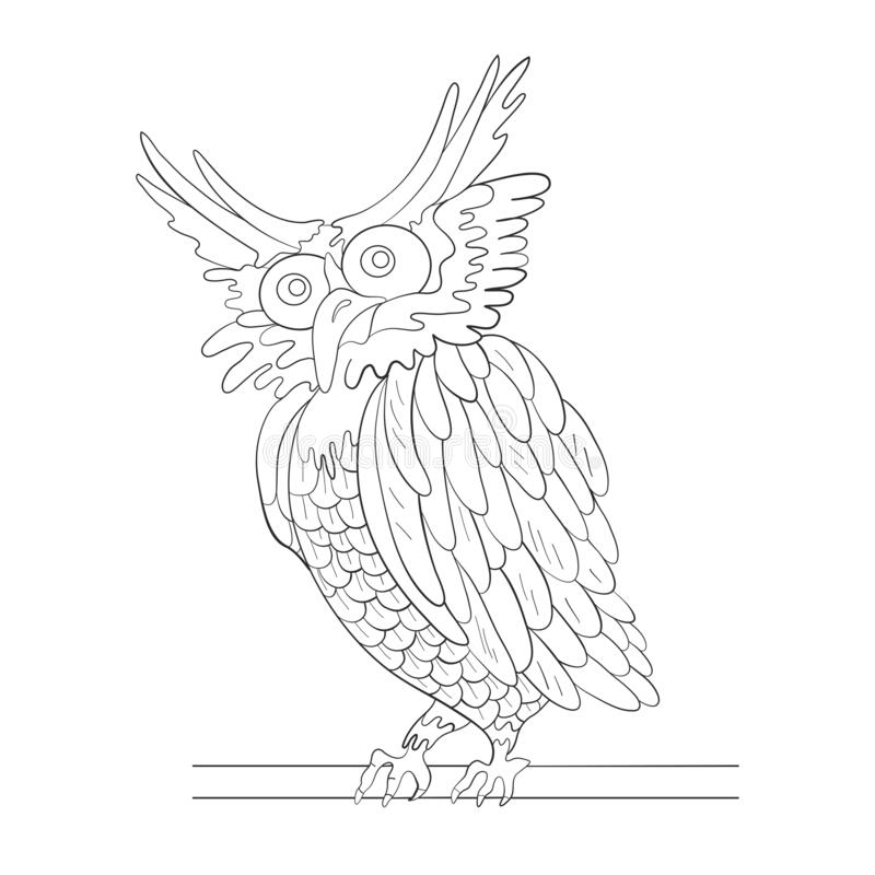 Owl on a branch tree. Print Coloring page. Vector illustration stock photography