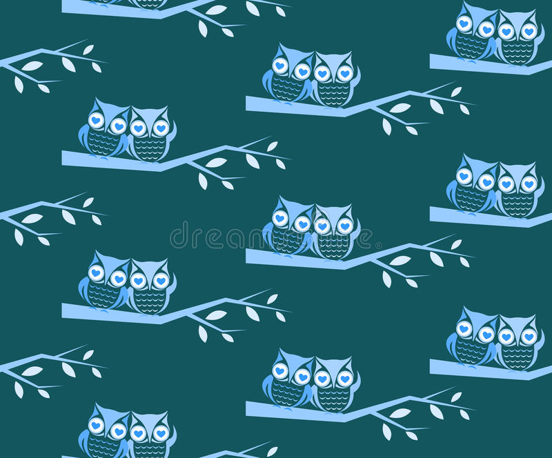 Owl and branch vector art background. Design for fabric and decor. Seamless pattern royalty free illustration