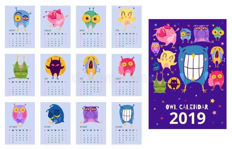 Owl Calendar Template stock abbildung