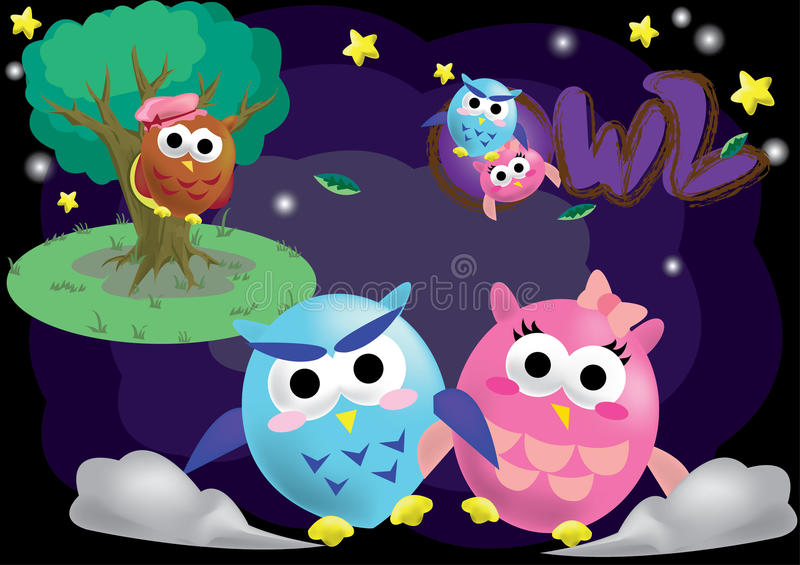 Owl Cartoon Character Vector lizenzfreie stockbilder