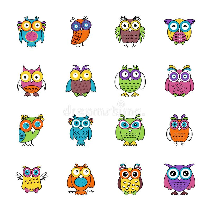 Owl Cartoon Flat Icons royalty free illustration