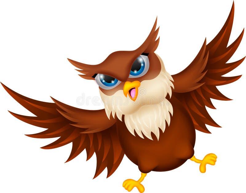 Owl cartoon flying vector illustration