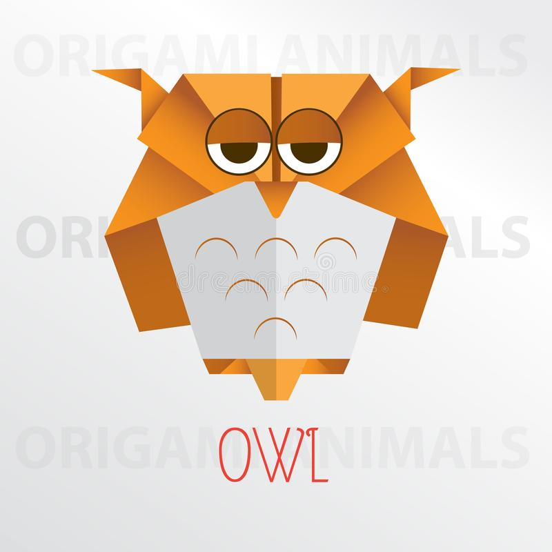Owl origami paper art illustration. Owl cartoon mascot origami art illustration colorful animal origami art stock illustration