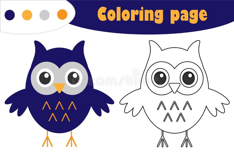 Owl in cartoon style, halloween coloring page, education paper game for the development of children, kids preschool activity, prin stock illustration