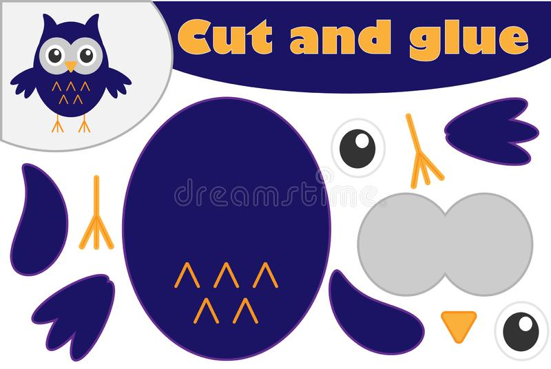 Owl cartoon style, halloween education game for the development of preschool children, use scissors and glue to create the appliqu. E, cut parts of the image and royalty free illustration