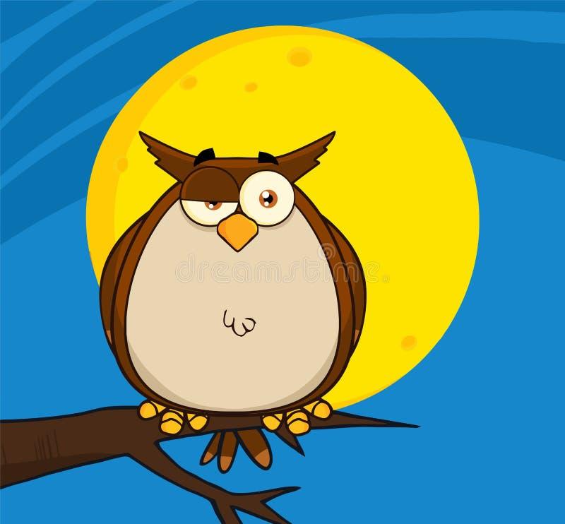 Owl Cartoon On Tree In a noite ilustração stock
