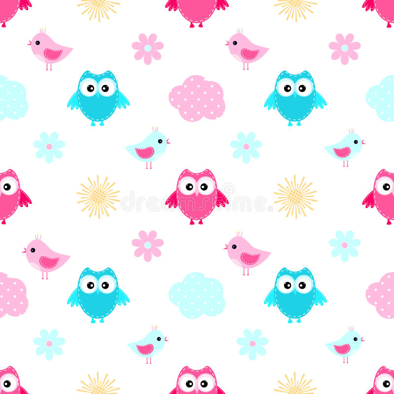 Download Owl Cloud Seamless  Pattern Stock Illustration - Illustration of seamless, character: 94311095