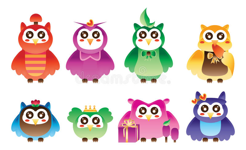 Owl colorful style set stock illustration