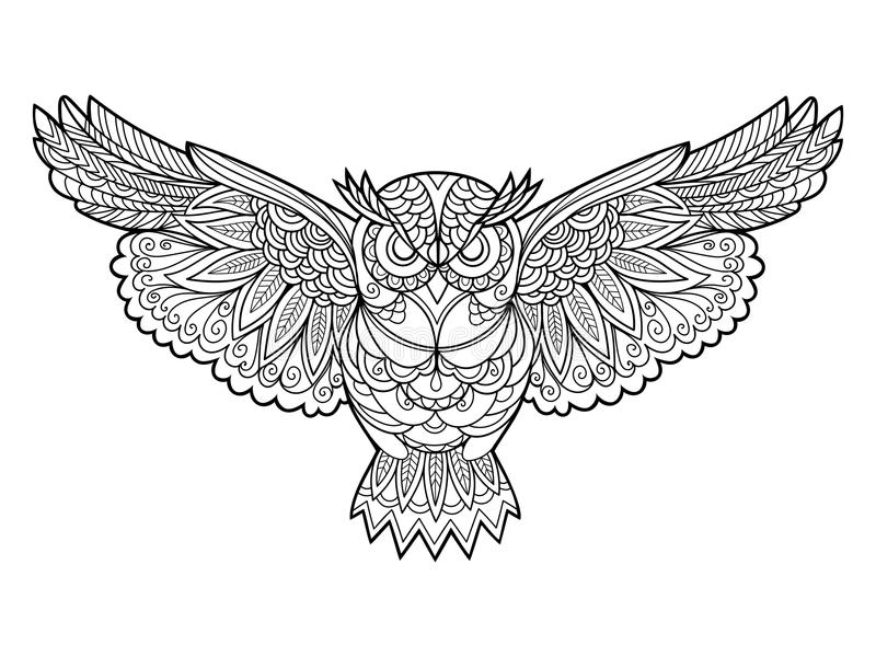 Download owl coloring book for adults vector stock vector illustration of contour monochrome