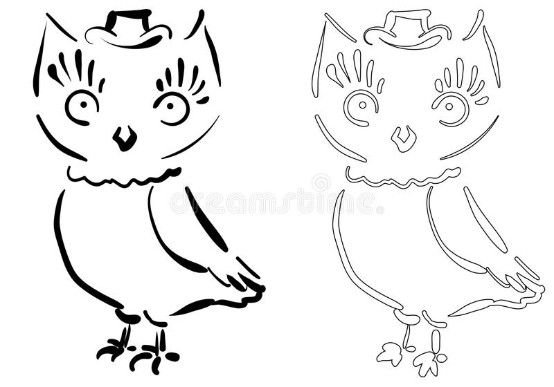 Owl for coloring stock images
