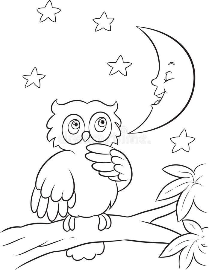 Owl coloring page stock vector. Illustration of moon - 40037219