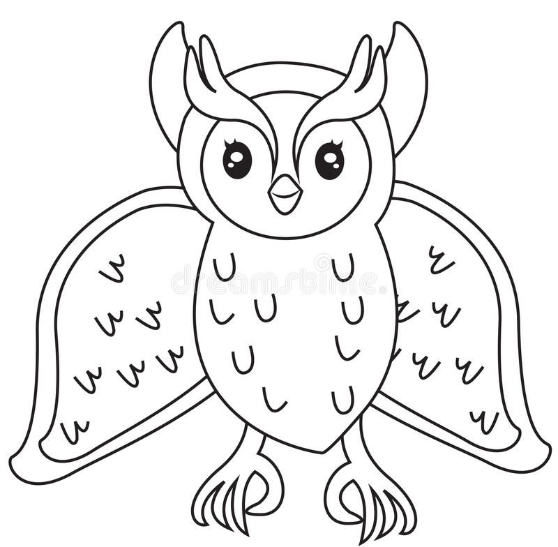 Owl coloring page stock illustration. Illustration of child - 50278100