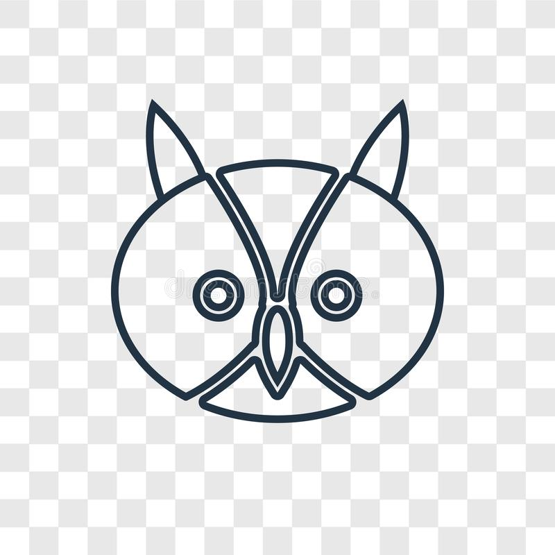 Owl concept vector linear icon isolated on transparent background, Owl concept transparency logo in outline style. Owl concept vector linear icon isolated on royalty free illustration