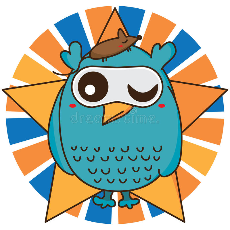 Owl cool like mouse vector illustration