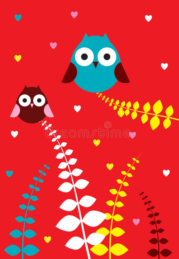 Download Owl couple stock vector. Illustration of bird, funny - 12707117