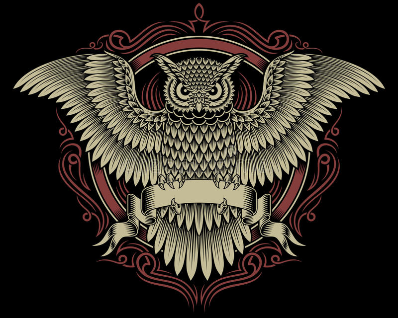 Owl Crest. Fully editable vector illustration of owl crest isolated on black background, image suitable for crest, emblem, insignia, coat of arms or t-shirt