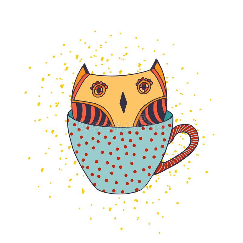 Owl in cup. Vector illustration for t-shirt print, temporary tattoo, sticker design. Kids print design vector illustration