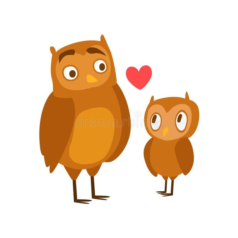Owl Dad Animal Parent And la sua illustrazione variopinta di tema di paternità del vitello del bambino con i caratteri di fauna d illustrazione vettoriale