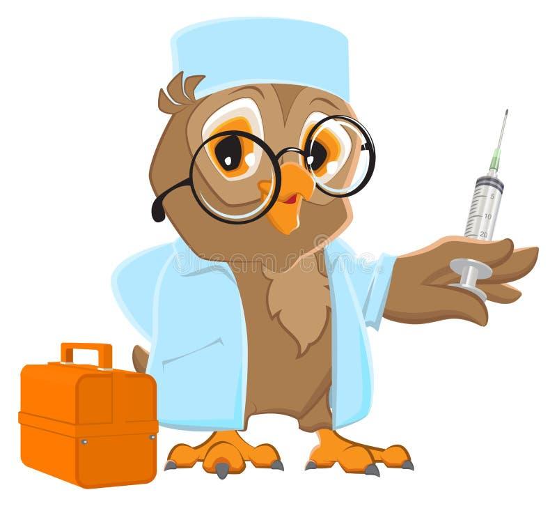 Owl doctor holding syringe. Owl veterinarian in white coat vector illustration