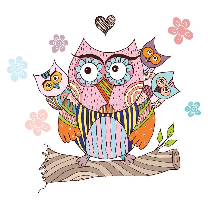Owl Doodle avec le vecteur de fleur photographie stock libre de droits