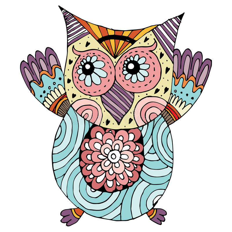 Owl Doodle Vector. Owl doodle freehand draw royalty free illustration