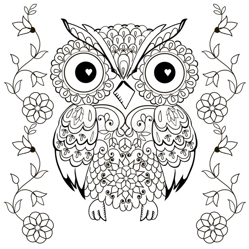 Owl Drawing For Coloring Antistress Stock Vector Illustration