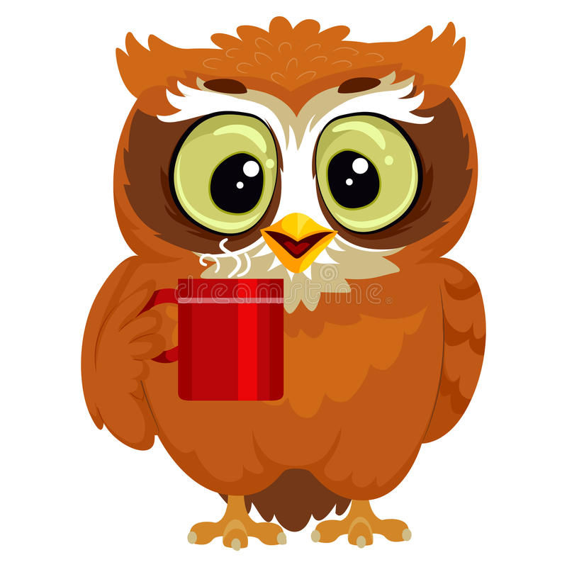 Owl drinking a cup of coffee stock illustration