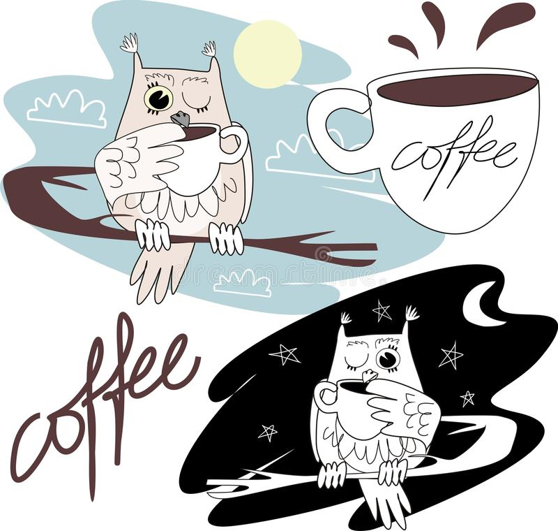 Owl drinks coffee royalty free stock image