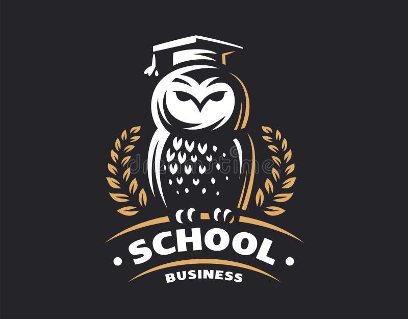 Owl education logo - vector illustration. Emblem design. On black background stock illustration