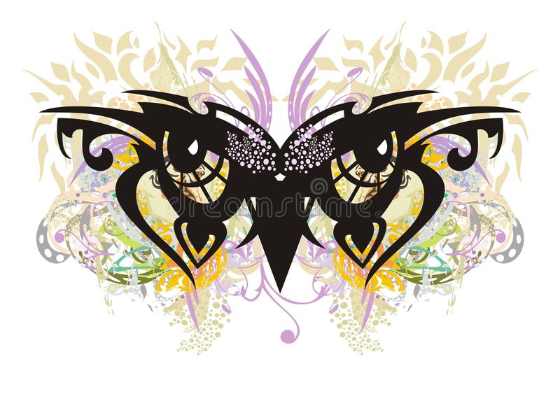 Owl eyes floral elements colorful splashes stock illustration