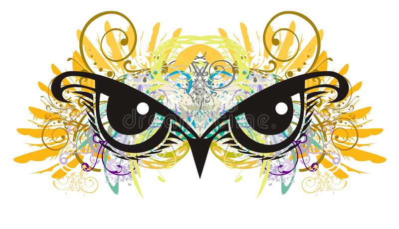 Owl eyes with floral elements splashes stock illustration