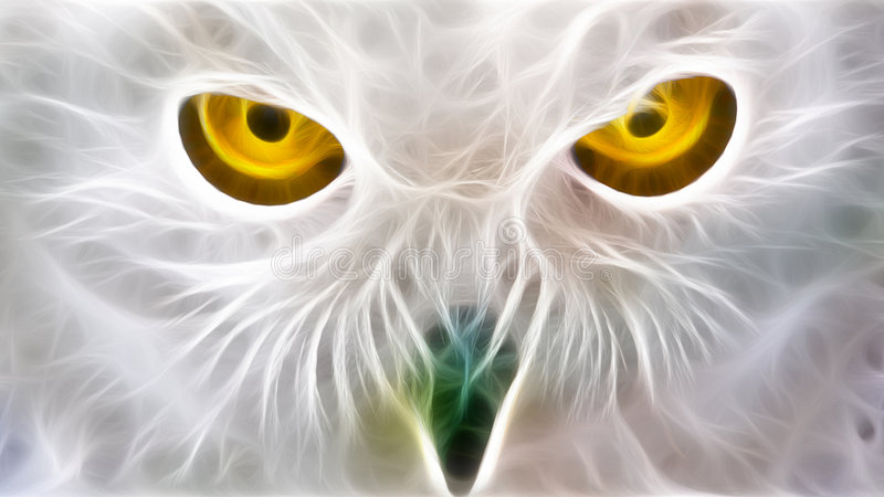 Owl eyes fractal. A fractal render of a snow owl eyes in white yellow and green colors vector illustration