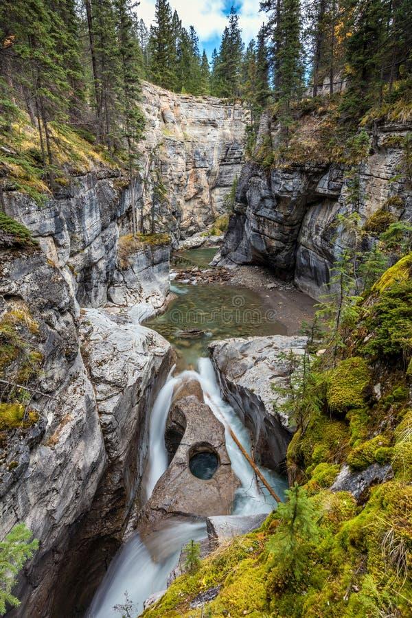 Owl Face Falls av den Maligne kanjonen arkivfoto