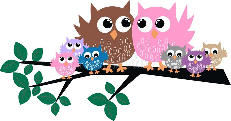 Owl family. A cute colorful owl family sitting in a tree