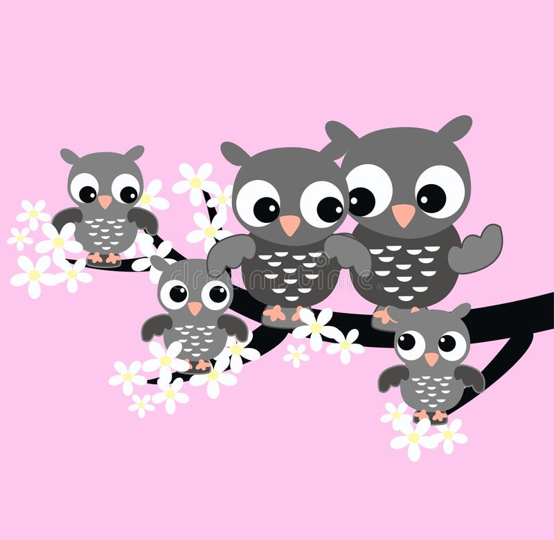 Download Owl family stock vector. Illustration of blooms, childrens - 18172702