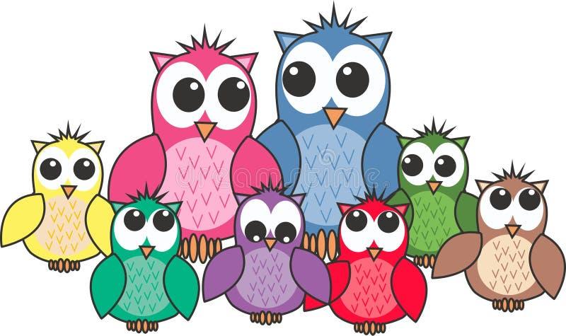 Owl family. Illustration of a big colourful owl family stock illustration
