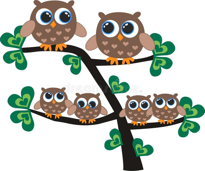 Download Owl family stock vector. Image of design, brother, animal - 23642027