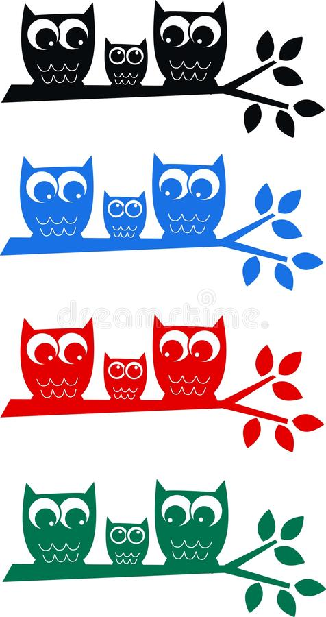 Download Owl family stock vector. Illustration of colors, decor - 24732007