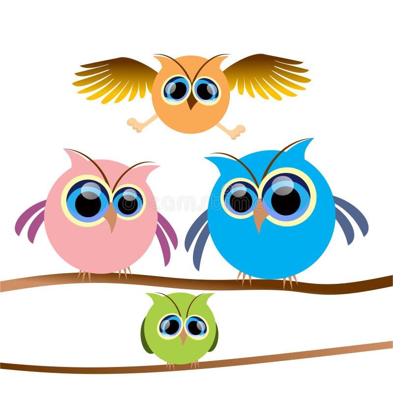 Owl Family stock illustratie