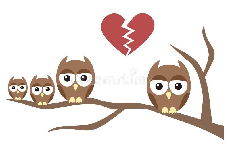Owl Family Divorce stock illustrationer
